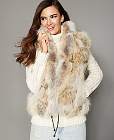 The Fur Vault Natural Coyote Fur Vest