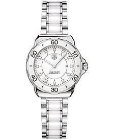 TAG Heuer Women's Swiss Formula 1 Diamond (1/10 ct. t.w.) White Ceramic and Stainless Steel Bracelet Watch 32mm WAH1315.BA0868