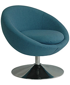 Aries Swivel Fabric Accent Chair, Quick Ship