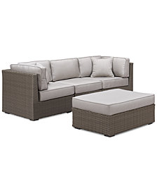 CLOSEOUT! South Harbor Outdoor 4-Pc. Modular Seating Set (2 Corner Units, 1 Armless Unit and 1 Ottoman), Created for Macy's