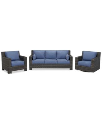 Viewport Outdoor Wicker 3-Pc. Seating Set (1 Sofa, 1 Club Chair and  1 Swivel Glider), Created for Macy's