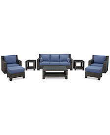 Viewport Outdoor Wicker 8-Pc. Seating Set (1 Sofa, 2 Swivel Gliders, 2 Ottomans, 1 Coffee Table and 2 End Tables), Created for Macy's
