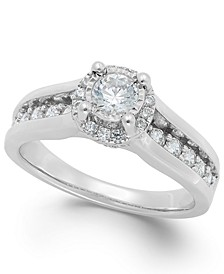 Diamond Channel Halo Engagement Ring (1 ct. t.w.) in 14k Gold or White Gold