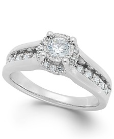 TruMiracle® Diamond Channel Halo Engagement Ring (1 ct. t.w.) in 14k Gold or White Gold