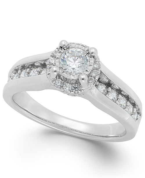 Macy's TruMiracle® Diamond Channel Halo Engagement Ring (1 ct. t.w.) in 14k Gold or White Gold
