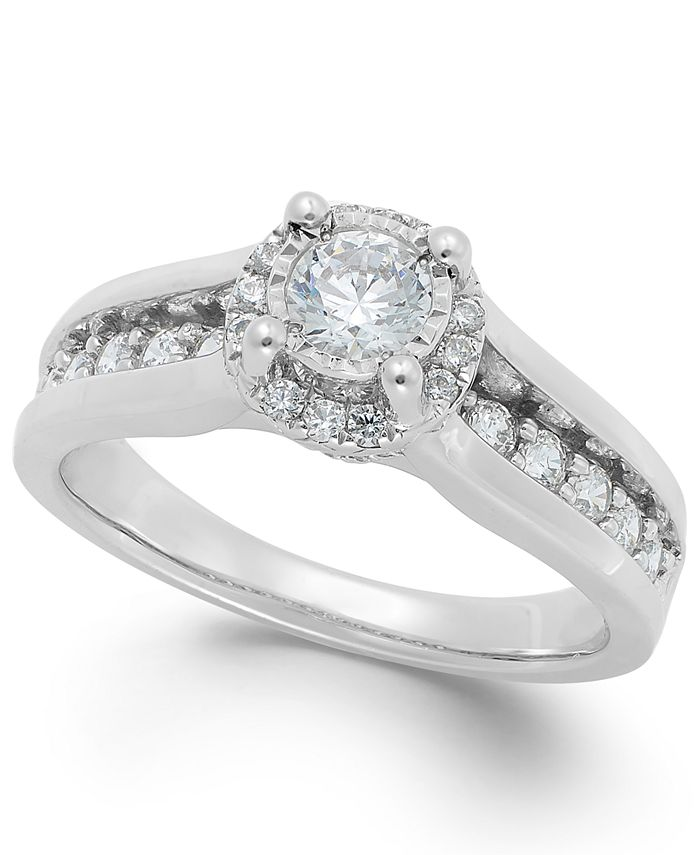 TruMiracle - Diamond Channel Halo Engagement Ring (1 ct. t.w.) in 14k Gold or White Gold