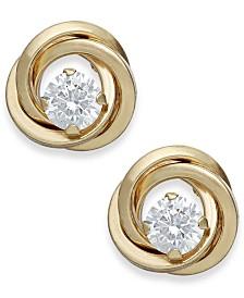 Cubic Zirconia Love Knot Stud Earrings in 10k Gold