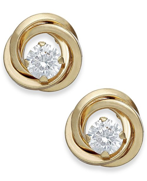 Macy's Cubic Zirconia Love Knot Stud Earrings in 10k Gold