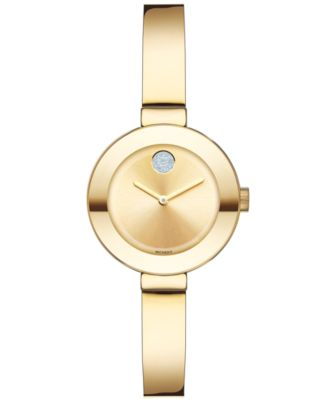 Women's Swiss Bold Gold Ion-Plated Stainless Steel Bangle Bracelet Watch 25mm 3600285