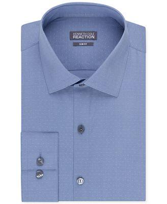 Kenneth Cole Reaction Men's Slim-Fit Dobby Dot Dress Shirt - Dress ...