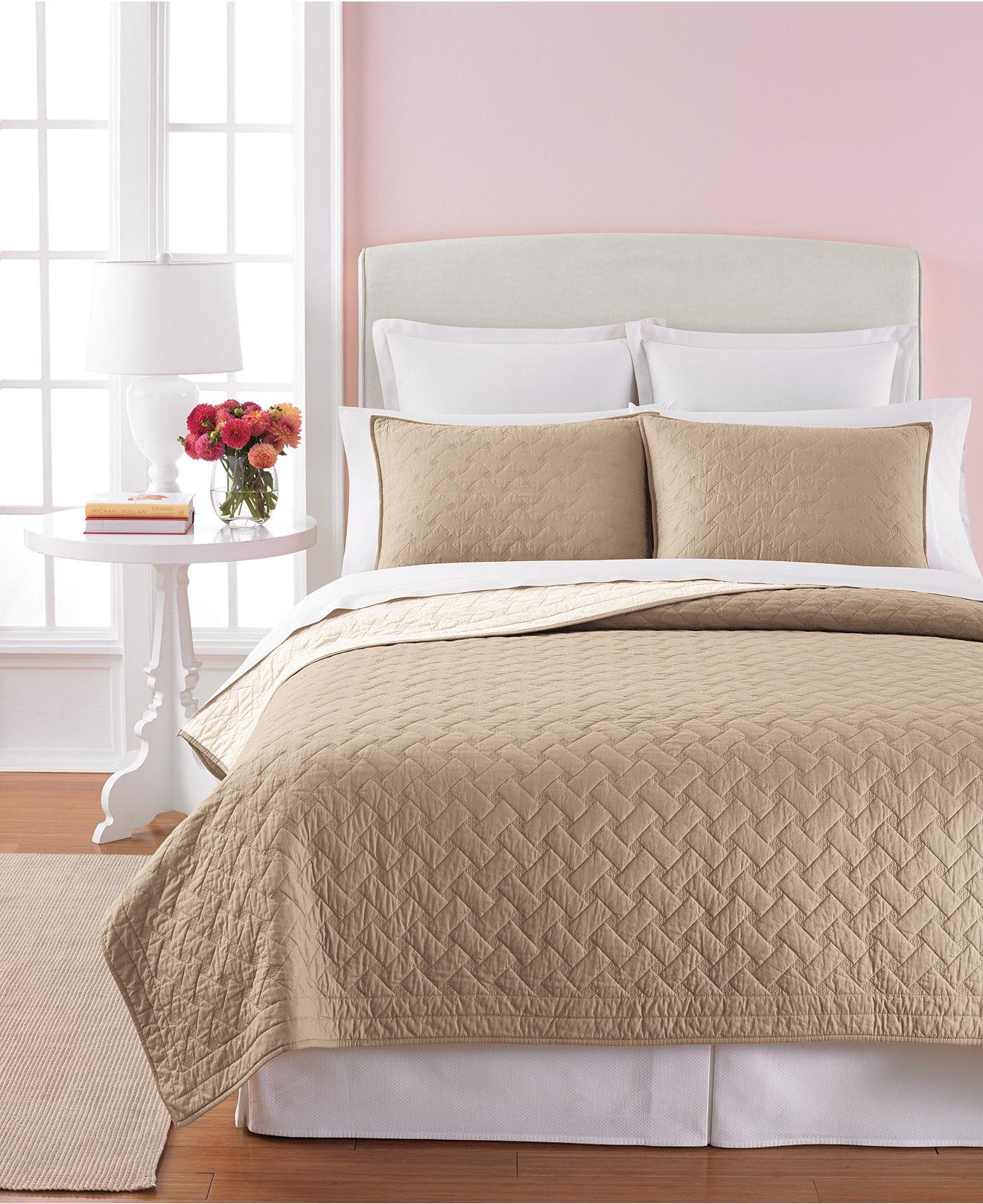 Martha Stewart Collection Basket Stitch Tan Quilts   Quilts   Martha Stewart Collection Basket Stitch Tan Quilts   Quilts   Bedspreads    Bed   Bath   Macy s. Bedroom Quilts. Home Design Ideas