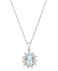 Aquamarine (1 ct. t.w.) and Diamond Accent Pendant Necklace in 14k White Gold