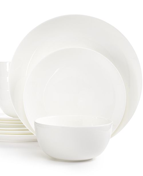 Hotel Collection White Dinnerware, Bone China Coupe 12-Pc. Set, Service for 4