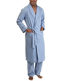 Men's Woven Plaid Robe