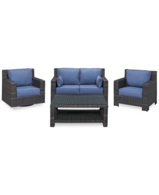 Viewport Outdoor Wicker 4-Pc. Seating Set (1 Loveseat, 1 Club Chair, 1 Swivel Glider and 1 Coffee Table), Created for Macy's