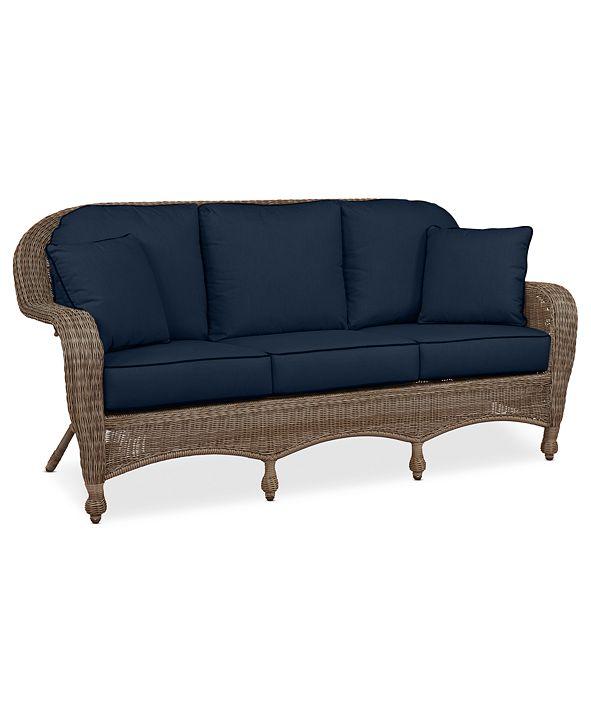 Furniture Sandy Cove Wicker Outdoor Sofa: Custom Sunbrella®, Created for Macy's