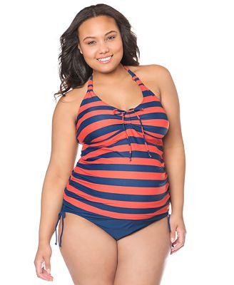 motherhood maternity plus size striped halter tankini swimsuit