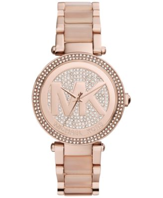 Image of Michael Kors Women's Parker Blush Acetate and Rose Gold-Tone Stainless Steel Bracelet Watch 39mm MK6