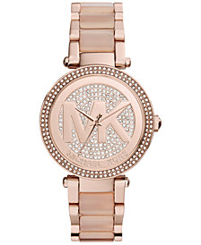 Michael Kors Women's Parker Blush Acetate and Rose Gold-Tone Stainless Steel Bracelet Watch 39mm MK6176
