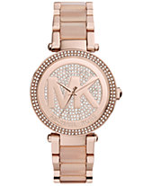 Michael Kors Women s Parker Blush Acetate and Rose Gold-Tone Stainless  Steel Bracelet Watch 39mm d4b44a3ca4
