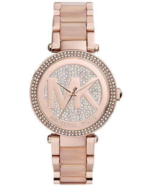 615f4dc7b231 ... Michael Kors Women s Parker Blush Acetate and Rose Gold-Tone Stainless  Steel Bracelet Watch 39mm ...