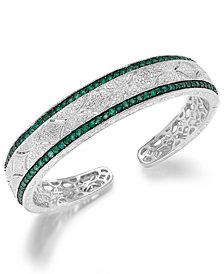 Emerald (1-1/3 ct. t.w.) and Diamond (1/10 c.t. t.w.) Cuff Bangle Bracelet in Sterling Silver