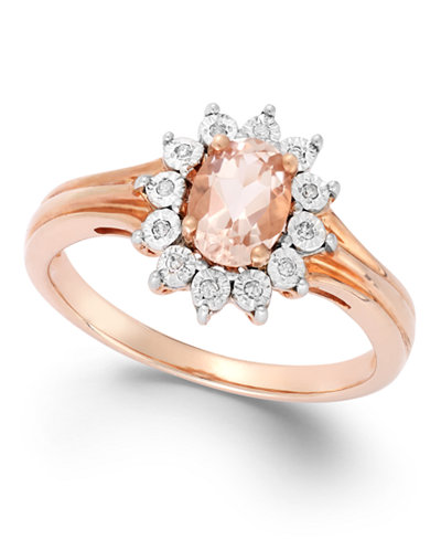 Diamond Accent and Morganite (5/8 ct. t.w.) Ring in 10K Rose Gold