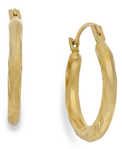 Diamond-Cut Hoop Earrings in 10k Gold