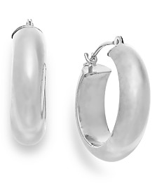 Wide Hoop Earrings in 10k White Gold