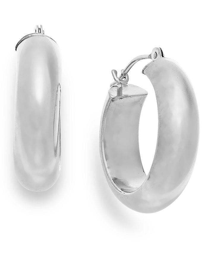 Macy's - Wide Hoop Earrings in 10k White Gold