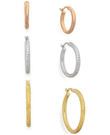 Tri-Tone Three-Hoop Set in 14k Gold Vermeil