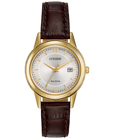 Citizen Women's Eco-Drive Brown Leather Strap Watch 29mm FE1082-05A