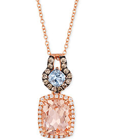 "Le Vian Aquamarine (1/4 c.t. t.w.), Peach Morganite (1-1/2 ct. t.w.) and Diamond (1/4 ct. t.w.) 18"" Necklace in 14k Rose Gold, Created for Macy's"
