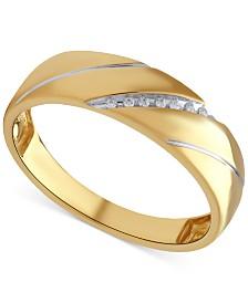 Beautiful Beginnings Mens Diamond Accent Wedding Band In 14K Gold