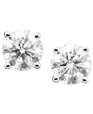 Macy S Diamond Stud Earrings In 14k Gold Or White Gold Earrings