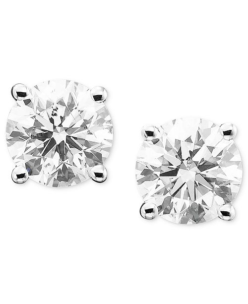 9605138b1 Macy's Diamond Stud Earrings (1/3 ct. t.w.) in 14k Gold or White ...