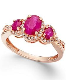 Emerald (1 ct. t.w.) & Diamond (1/4 ct. t.w.) 3-Stone Ring in 14k Gold (Also in Certified Ruby, Sapphire & Tanzanite)