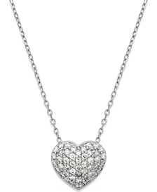 Diamond (1/3 ct. t.w.) Pavé Heart Pendant in 14K White Gold