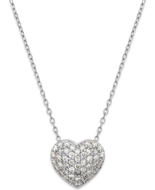 Macy's Diamond (1/3 ct. t.w.) Pavé Heart Pendant in 14K White Gold