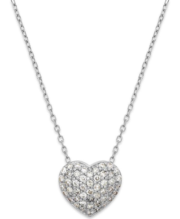 Macy's - Diamond (1/3 ct. t.w.) Pavé Heart Pendant in 14K White Gold