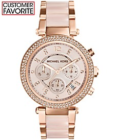 Women's Chronograph Parker Blush and Rose Gold-Tone Stainless Steel Bracelet Watch 39mm MK5896