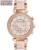 a2cdfa17db9e Michael Kors Women s Chronograph Parker Blush and Rose Gold-Tone Stainless  Steel Bracelet Watch 39mm
