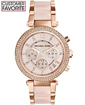 455d59097705 Michael Kors Women s Chronograph Parker Blush and Rose Gold-Tone Stainless  Steel Bracelet Watch 39mm