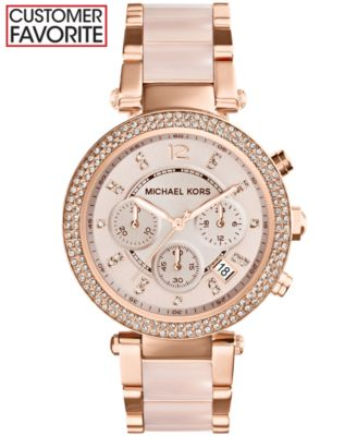 Michael Kors Women\u0026#39;s Chronograph Parker Blush and Rose Gold-Tone Stainless Steel Bracelet Watch 39mm