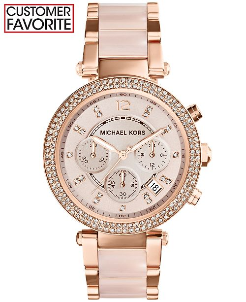 Michael Kors Women S Chronograph Parker Blush And Rose Gold Tone