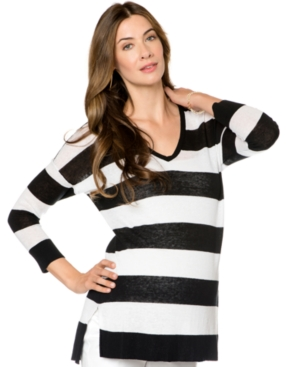A Pea In The Pod Long-Sleeve Striped Maternity Sweater plus size,  plus size fashion plus size appare
