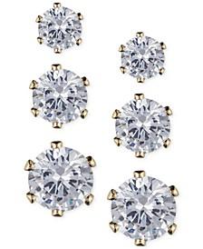 Glass Stone Stud Earring Set