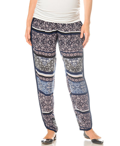 A Pea In The Pod Floral-Print Maternity Pants
