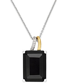 Onyx (10 ct. t.w.) and Diamond Accent Pendant Necklace in Sterling Silver and 14k Gold