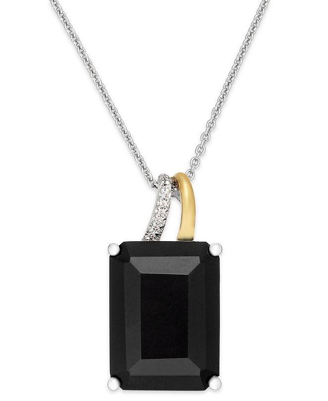 Macy's Onyx (10 ct. t.w.) and Diamond Accent Pendant Necklace in Sterling Silver and 14k Gold